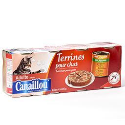 Terrines pour chat - adulte - aux viandes - aux légu...
