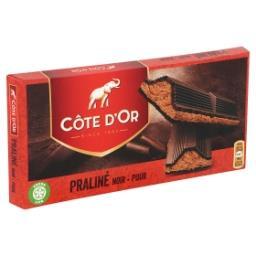 Tablette de chocolat noir fourré au praliné