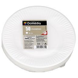 Assiettes carton diam 18 cm, blanc