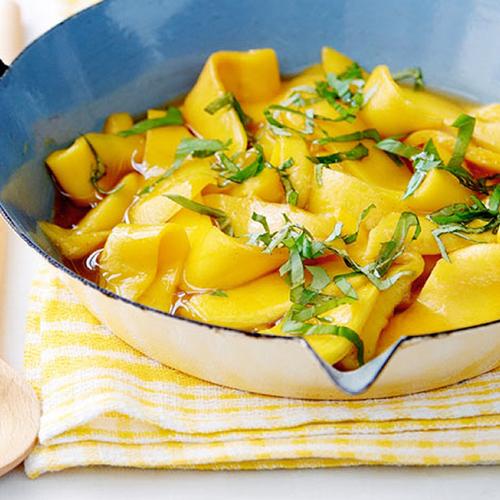 Compote de mangue au basilic