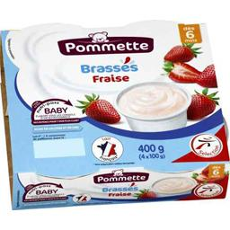 Dessert lacté brassés fraise, dès 6 mois,POMMETTE,les 4 pots de 100 g