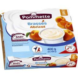 Dessert lacté brassés abricots, dès 6 mois,POMMETTE,les 4 pots de 100 g