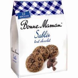 Sablés tout chocolat au beurre frais ,BONNE MAMAN,le sachet de 250g
