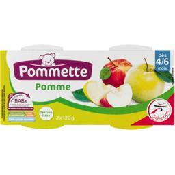 Purée de pommes dès 4/6 mois,POMMETTE,les 2 pots de 120g