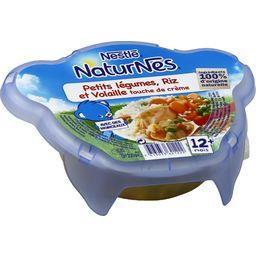 Assiette Petits Légumes, Riz et Poulet à la crème, 12M ,NATURNES,l' assiette de 230 g