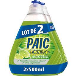 Liquide vaisselle anti bactérien ultra dégraissant - Excel+,PAIC,les 2 flacons de 250 ml
