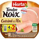 Herta Tendre Noix - Jambon Charcutier cuisiné à l'os la barquette de 6 tranches - 210 g