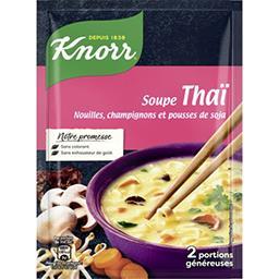 Soupe Thaï, nouilles, champignons et pousses de soja