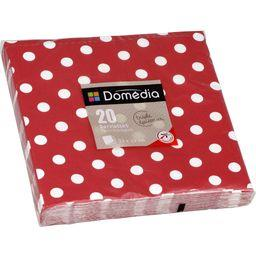 Serviettes 3 plis, pliage 1/4 33x33 cm, rouge Dots