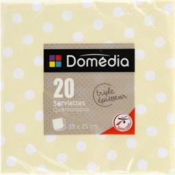 Serviettes 3 plis, pliage 1/4 25x25 cm, crème Dots