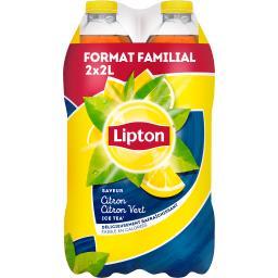Lipton Ice Tea - Boisson saveur citron/citron vert les 2 bouteilles de 2l - Format Spécial