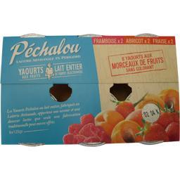 Yaourt brassé aux morceaux de fruits (framboise, abricot, fraise)