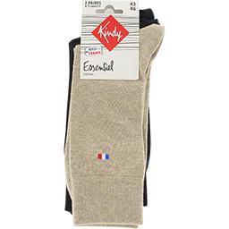 Chaussettes Essentiel coton 43-46 beige/noir