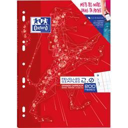 Oxford Feuillet mobile 2,0 School perforé A4 90 g seyès 2 c... le paquet de 200 pages