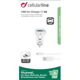 Kit chargeur allume cigare USB 2AA + câble micro USB blanc