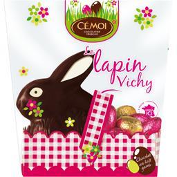 Cémoi Le Lapin Vichy chocolat noir avec œufs pralinés