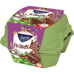 Ivoria Œufs chocolat au lait billes chocolat colorées les 4 œufs de 25 g