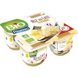 Bio Pâturages Riz au lait à la vanille BIO les 4 pots de 100 g