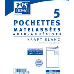 Pochette 170x270 kraft blanc auto adhesive matelasse...