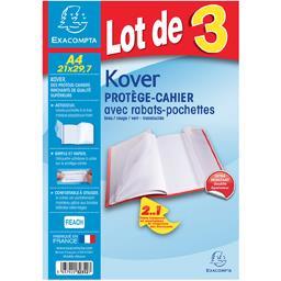 Protège cahier translucide bleu vert rouge 210x297
