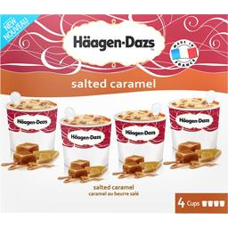 HAAGEN DAZS SPECIALITE INDIVIDUELLE MINI-CUPS CLASSIQUE SALTED CARAMEL X4 400ML