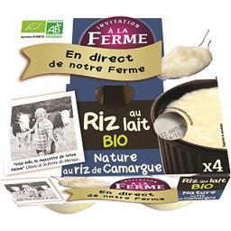 Invitation à la ferme Riz au lait bio nature Les 4 pots de 125 gr