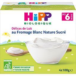 Délices de Lait - Fromage blanc nature sucré BIO, dè...