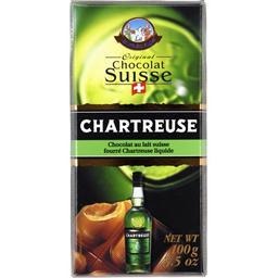 Chocolat au lait suisse fourré Chartreuse liquide
