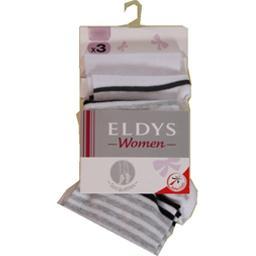 Eldys, Soquettes femmes, rayures blanches t35/37, le lot de 3