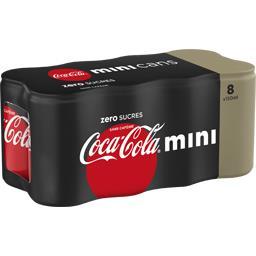 Coca Cola Zero - Mini soda au cola zéro sucres sans caféine les 8 canettes de 150 ml