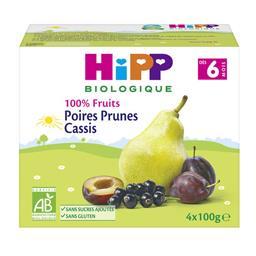100% Fruits - Poires prunes cassis BIO, dès 6 mois