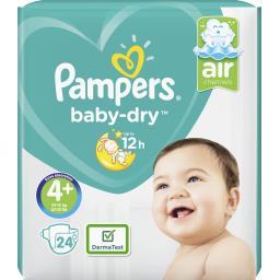 Pampers Couches baby-dry taille 4+ (maxi+) 9-18 kg
