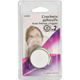 Crochets adhésifs acier finition zinguée 35mm
