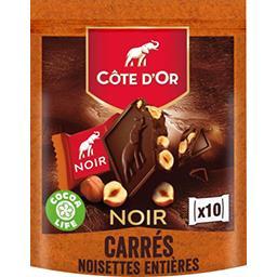 Carrés de chocolat noir noisettes individuels