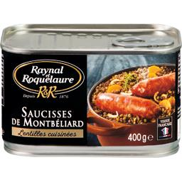 Saucisses de Montbéliard lentilles cuisinées