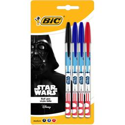 Bic Stylo-bille Star Wars rouge/bleu/noir le lot de 4 crayons
