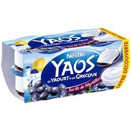 Nestlé Yaos - Le Yaourt à la Grecque sur lit de myrtilles les 4 pots de 125 g - Offre découverte