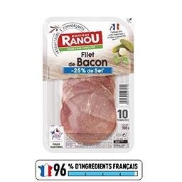 Monique Ranou Filet de bacon sel réduit la barquette de 10 tranches - 100 g