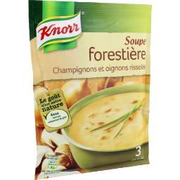 Soupe forestière, champignons et oignons rissolés