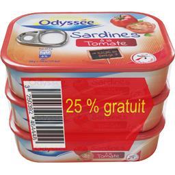 Odyssée Sardines à la tomate les 3 boites de 135g
