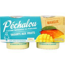 Péchalou Yaourts aux fruits mangue les 4 pots de 125 g
