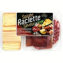 Assortiment fromage charcuterie pour raclette, 3-4 personnes