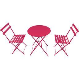 Set bistrot : 1 table et 2 chaises coloris framboise