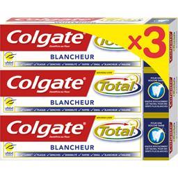 Colgate Total - Dentifrice au fluor Blancheur les 3 tubes de 75 ml