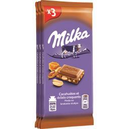 Milka Chocolat au lait cacahuètes et éclats croquants les 3 tablettes de 90 g