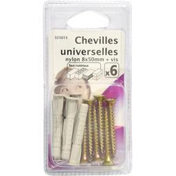 Chevilles universelles nylon 8x50mm + vis