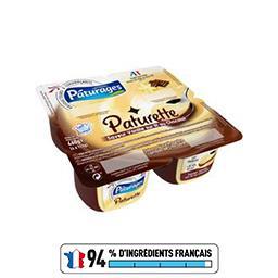 Crème dessert saveur vanille sur lit au chocolat