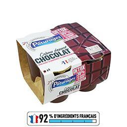 Pâturages Crème dessert chocolat Detox réduit en sucres les 4 pots de 115 g