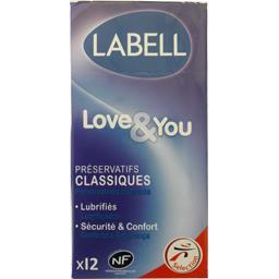 Labell Préservatifs classiques Love & You lubrifiés la boite de 12