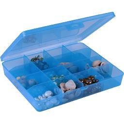 Boîte translucide 16 séparations fixes bleu 29,6x25x5,2cm